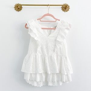 Skies Are Blue Eyelet Ruffle Tiered Blouse
